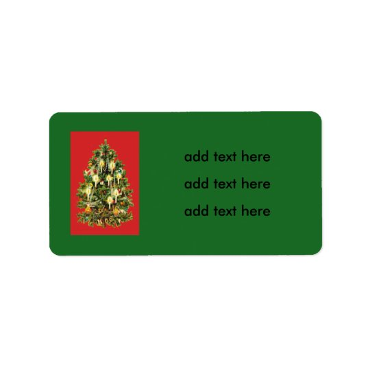 Candlelit Christmas Tree Ornaments Garland Label