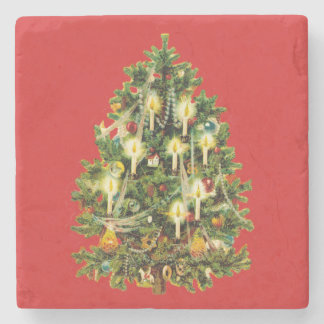 Candlelit Christmas Tree Ornaments Garland Stone Coaster