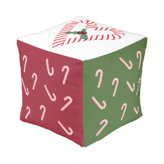 Candy Cane Cube Cushion 13x13x13in