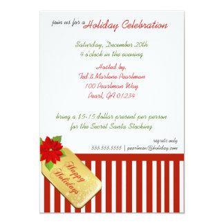 Candy Cane Present Holiday Party Invitaiton 13 Cm X 18 Cm Invitation Card