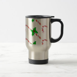 Candy Cane with Holly Mugs