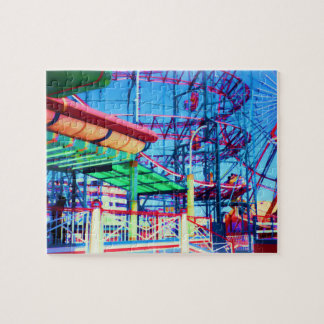 Candy Colored Vintage Rollercoaster Jigsaw Puzzle