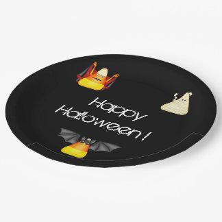 Candy Corn Bat Dracula Mummy Halloween Paper Plate