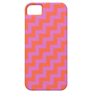 Candy Pink, Bright Orange Diagonal Chevrons iPhone 5 Covers
