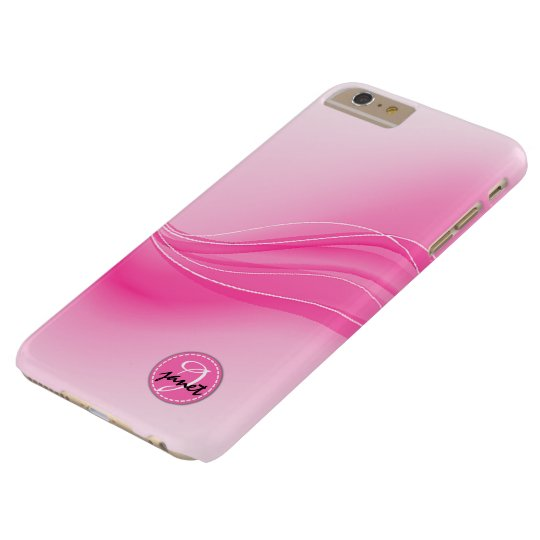 Candy Pink Modern Waves Monogram Barely There iPhone 6 Plus Case