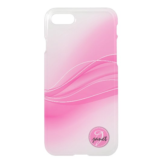 Candy Pink Modern Waves Monogram iPhone 8/7 Case