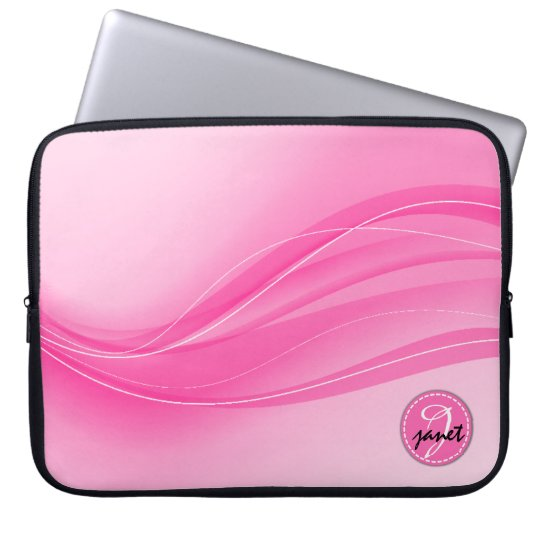 Candy Pink Modern Waves Monogram Laptop Sleeve