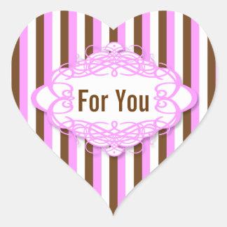 Candy stripe wedding vintage monogram heart sticker