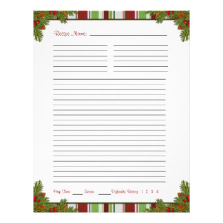 Candy Stripes Christmas Recipe Binder Inserts 21.5 Cm X 28 Cm Flyer