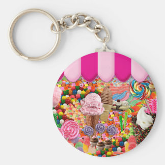 Candy Sweet Sixteen Ice Cream Funny Basic Round Button Key Ring