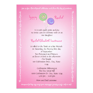 Candy Treasures Bat Mitzvah 13 Cm X 18 Cm Invitation Card
