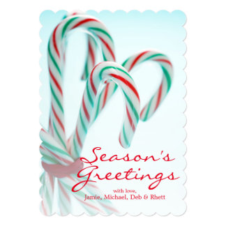 Candy walking sticks 13 cm x 18 cm invitation card