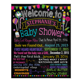 Candyland Baby Shower Party chalkboard sign