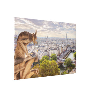 Canvas | Gargoyle & Eiffel Tower View | Paris Stretched Canvas Print