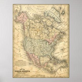 Canvas Print Vintage Map of North America