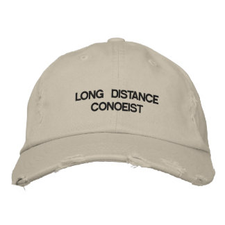 Cap with LONG DISTANCE CANOEIST on it. Embroidered Hat