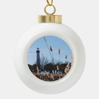 Cape May lighthouse Ceramic Ball Christmas Ornament