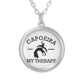 capoeira design silver plated necklace