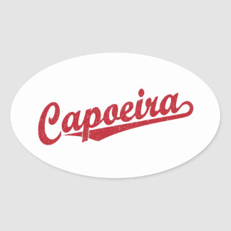 Capoeira in red distressed oval sticker