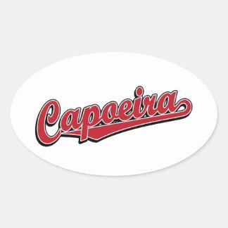 Capoeira in red fancy oval sticker