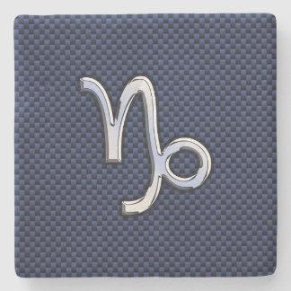 Capricorn Zodiac Symbol Blue Carbon Fiber Style Stone Coaster