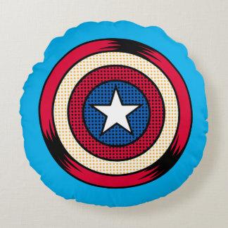 Captain America Halftone Shield Round Cushion