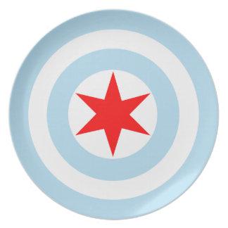 Captain Chicago Flag Shield Dinner / Display Plate
