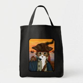 Captain Leo, Pirate Cat & Rat Fantasy Art Tote Bag