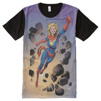 Captain Marvel Breaking Through Wall All-Over Print T-Shirt