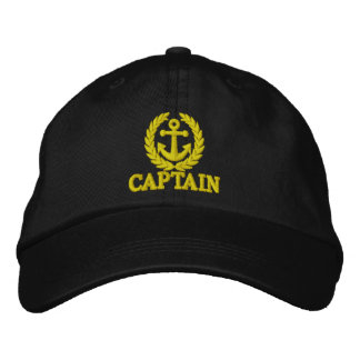 Captain with sailors anchor motif embroidered hat