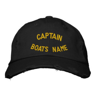 Captain with your custom boats name embroidered cap