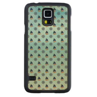 Captain Yacht Boat Sailing Marine Nautical Pattern Carved Maple Galaxy S5 Case