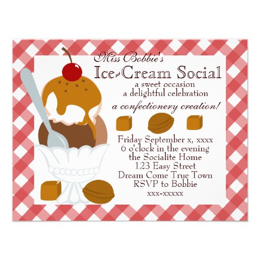 Caramel Covered Ice-Cream Personalized Announcements