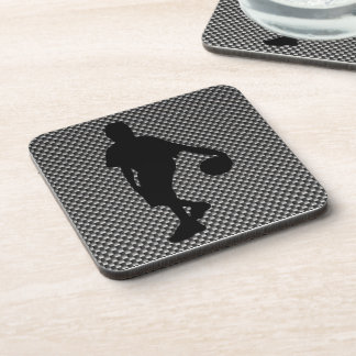Carbon Fiber look Basketball Player Beverage Coasters