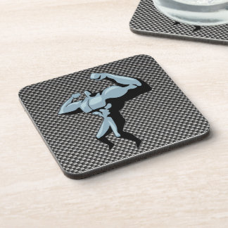 Carbon Fiber look Bodybuilder Beverage Coasters