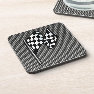 Carbon Fiber look Checkered Flag Beverage Coasters