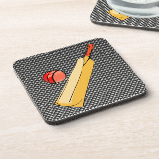 Carbon Fiber look Cricket Beverage Coasters