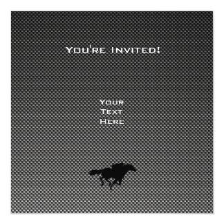 "Carbon Fiber look Flaming Football 5.25"" Square Invitation Card"