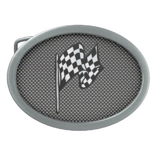 Carbon Fibre look Chequered Flag Belt Buckle