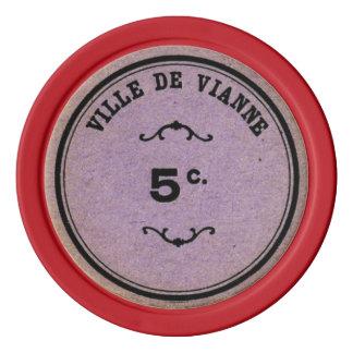 Card Guard Vintage Lavender Color 5 Poker Value Poker Chips Set