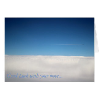 Card of plane above the clouds for friends leaving