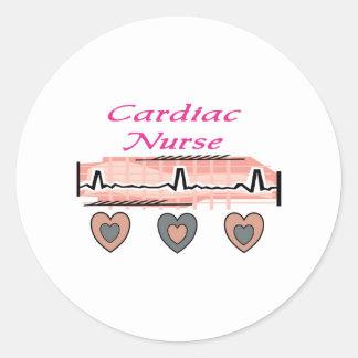 Cardiac Nurse EKG Paper Design Round Stickers