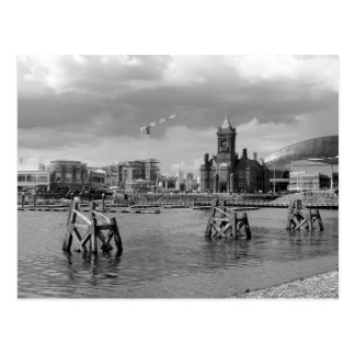 Cardiff Bay, Cardiff, Wales - Black and White Postcard
