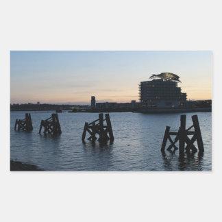 Cardiff Bay Sunset Rectangular Sticker