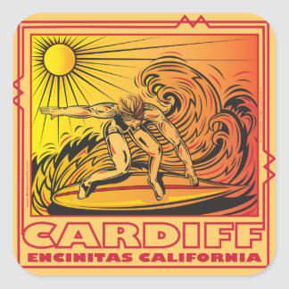 CARDIFF BY THE SEA ENCINITAS CALIFORNIA SURFING SQUARE STICKER