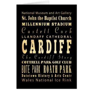 Cardiff City United Kingdom Typography Art Card