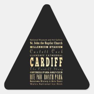 Cardiff City United Kingdom Typography Art Triangle Sticker