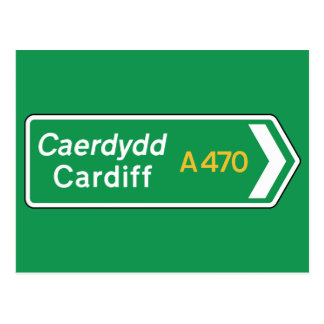 Cardiff, UK Road Sign Postcard