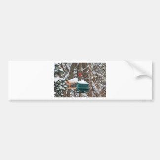 Cardinal on Birdfeeder Bumper Sticker