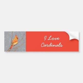 Cardinal on Branch Painting - Original Bird Art Bumper Sticker